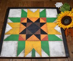 Fall Sunflower Barn Quilt 22x22 Inches
