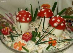 "Katalin konyhája: Tojásgomba - ""légyölő galóca"" módra Sandwich Cake, Sandwiches, Food Art, Panna Cotta, Easter, Pudding, Ethnic Recipes, Savory Tart, Pies"