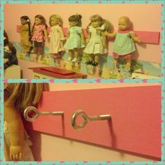 My husband made this American Girl doll holder for her room. It is much more affordable than the individual holders they sell.