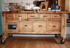 farmhouse kitchen island on wheels | add wheels to unfinished furniture for instant industrial look