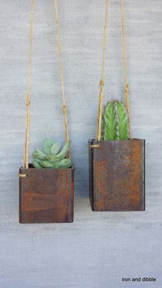 "Set of Two Square 3"" x 3"" Steel Indoor Outdoor Garden Hanging Metal Planter :: Iron & Dibble on etsy"