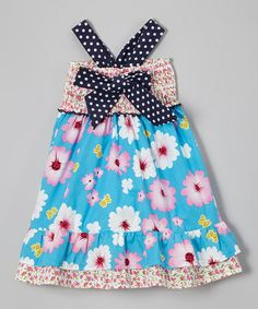 Look what I found on #zulily! Blue & Pink Floral Bow Dress - Toddler & Girls by Lele Vintage #zulilyfinds