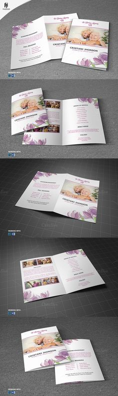 Funeral Program Template - Golden PSD Brochure Design Templates