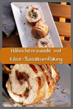 Gegrillte Hähnchenroulade mit Käse-Basilikumfüllung Gegrillte Hähnchenrouladen gefüllt mit Prosciuto, Parmesan und Basilikum. Die Rouladen lassen sich gut vorbereiten und sind eine geeignete Abwechslu... Barbecue Recipes, Smoking Meat, Parmesan, Baked Potato, Buffet, Grilling, Treats, Ethnic Recipes, Blog