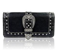 New Montana West® Longhorn Buckle, Tri-fold Wristlet Wallet- Black