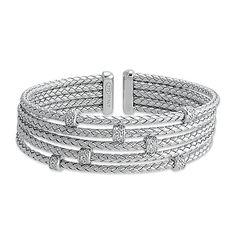 Cubic Zirconia Woven Cuff Bracelet in Sterling Silver