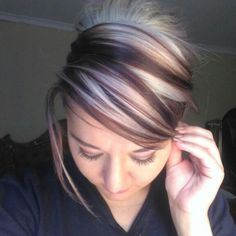 Chunky highlights blonde and brown solid