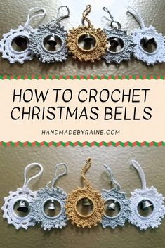 If you are into Amigurumi crochet, this will definitely interest you. This is surprisingly an easy crochet pat Crochet Christmas Decorations, Crochet Christmas Ornaments, Crochet Decoration, Crochet Snowflakes, Christmas Bells, Free Christmas Crochet Patterns, Christmas Crafts, Crochet Flower Patterns, Crochet Flowers
