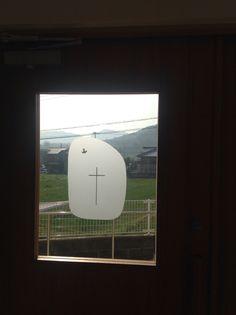Awaji Lutheran Church, Sumoto, Japan. Window. Holy Spirit, cross. Lutheran, Holy Spirit, Windows, Japan, Holy Ghost, Japanese, Ramen, Window