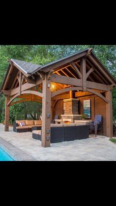 is very beautiful idea to have your backyard gazebo with fireplace or fire pit There are a plenty of ideas for backyard fireplace landscaping  All Season Outdoor Living Ideas Under GazeboAll Season Outdoor Living Ideas Under Gazebo backyard grass Backyard Pavilion, Outdoor Pavilion, Backyard Gazebo, Backyard Patio Designs, Pergola Patio, Pergola Ideas, Screened Gazebo, Pergola Carport, Tropical Backyard