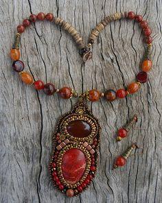 RED EARTH TREASURE Semi precious stones, beaded pendant, regalite, gems, garnet, red jade, chalcedony, necklace, gift, best price