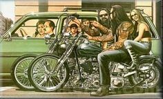 David Mann...The biker's Norman Rockwell (My uncle gave me one of his OLD Harley shirts with David Mann's artwork on it, love it.  I also bought my husband a David Mann t-shirt 5 years ago....so awesome.  ~Vanessa N. Moylan)
