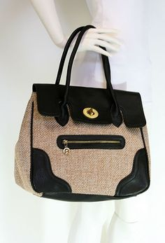 Black Straw Satchel with Front Zipper   # Pin++ for Pinterest #