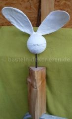 Bastelanleitung Hase aus Holz und Gips - Bildanleitung - Plaster and Wood Rabbit - step by step Photo tutorial