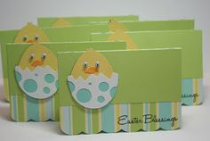 Easter Blessings Treat Bag Toppers by Corri Garza.  She used the Cricut Just Because and Simply Charmed cartridges to make these super cute chicks.  For a fun striped cardstock, try Echo Park Paper's Sweet Day, sold at www.cardstockshop.com.