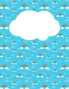 Free printable rainbow and cloud binder cover template. Download the cover in JPG or PDF format at http://bindercovers.net/download/rainbow-and-cloud-binder-cover/