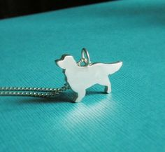 Love My Golden Retriever Sterling Silver Silhouette Pendant Necklace - Dog Lover Jewelry - For Pet People