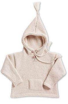 En fin råhvid hættebluse med lomme og kvaster strikket i blød økologisk uld. Knitting For Kids, Baby Knitting, Baby Barn, Baby Toys, Turtle Neck, Hoodies, Children, Sweaters, Clothes