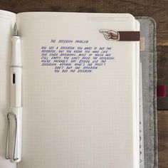 The Notebook Problem • So true for us stationery nerds. Words from Tumbler by: ohawkguy Penned with: Lamy Safari EF + Lamy blue ink cartridge. Notebook: Stalogy Notebook + Roderfaden a5 cover in dark brown.