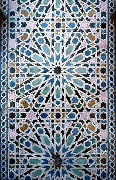 Image MOR 1118 featuring fountain from the Rabat Mosque, in Rabat, Morocco, showing Geometric Pattern using ceramic tiles, mosaic or pottery. Islamic Art Pattern, Arabic Pattern, Pattern Art, Arabesque, Motifs Islamiques, Art Alevel, Middle Eastern Art, Arabic Design, Geometric Art