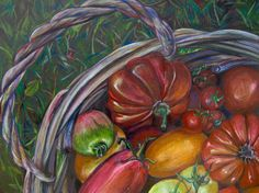 "[blockquote align=""center"" cite=""Lewis Grizzard""]""It's difficult to think anything but pleasant thoughts while eating a homegrown tomato. Cool Works, Heirloom Tomatoes, Art For Sale, Colored Pencils, Moonlight, Still Life, Watermelon, Fruit, My Love"