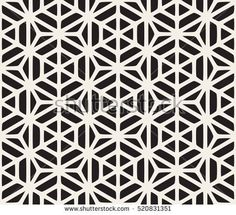 Vector Seamless Black And White Geometric Hexagon Rounded Grid Pattern. Abstract Geometric Background Design.