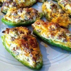 And so the football food preparations have begun Sausage Stuffed Jalapenos 1 pound ground Italian sausage 8 oz cream cheese, softened 1 cup shredded cheddar cheese 1 pound jalapenos, halved lengthwise and seeded 1 green onion, finely chopped Low Carb Recipes, Cooking Recipes, Healthy Recipes, Skinny Recipes, Ww Recipes, Cooking Ham, Grill Recipes, Fast Recipes, Cooking Turkey