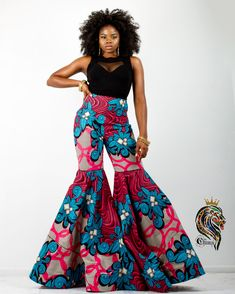 Keep it cute and casual in our Kiya Women's High Waist African Ankara Kente Dashiki Pants in Pink And Blue Ankara Pattern print this season. It's the perfect look for your summer vacation and weekend getaway. African Fashion Ankara, Latest African Fashion Dresses, African Inspired Fashion, African Print Fashion, African Attire, African Wear, African Dress, African Style, African Beauty