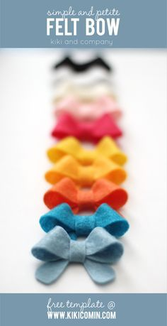 love these sweet felt bows at kiki and company. free template. perfect for a baby shower gift!