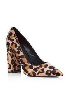 Pour La Victoire Celina Leopard Print Calf Hair Block Heel Pumps…