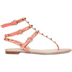 VALENTINO 10mm Rockstud Leather Sandals (12 225 ZAR) ❤ liked on Polyvore featuring shoes, sandals, flat sandals, sapatos, light coral, studded flat sandals, valentino flats, leather sandals and studded sandals