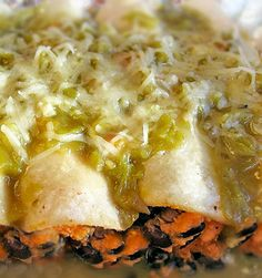 Sweet potato black bean enchiladas with salsa verde - i have made these several times and i absolutely love them!  they were my first meal of choice after our home birth, and they were perfect to refuel after 12 hours of labor!  my husband prefers them with the addition of shredded chicken.
