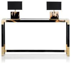 BLACK AND GOLD CONSOLE |  luxury furniture | bocadolobo.com/ #consoletableideas #modernconsole