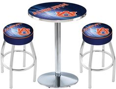 Auburn Tigers D2 Chrome Pub Table Set. Available in 28-inch or 36-inch diameter Table Top. Visit SportsFansPlus.com for details.