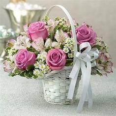 Purple Elegance Centerpiece Package from Basket Flower Arrangements, Beautiful Flower Arrangements, Silk Flowers, Floral Arrangements, Beautiful Flowers, 800 Flowers, Flower Girl Basket, Flower Boxes, Arte Floral