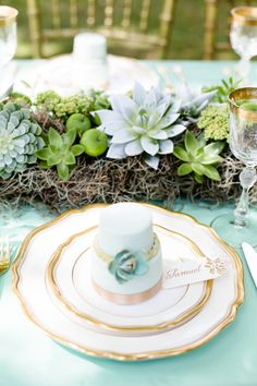 Gold + Mint Green Wedding Colors || Succulent Centerpiece || On Style Me Pretty: http://www.StyleMePretty.com/destination-weddings/2014/02/21/grayed-jade-sophisticated-garden-wedding-ideas/ Photography: Eddie Judd