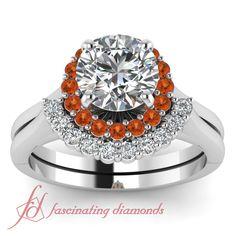 Narrow Floral Set    Round Cut Diamond Wedding Set With Orange Sapphire In 14K White Gold