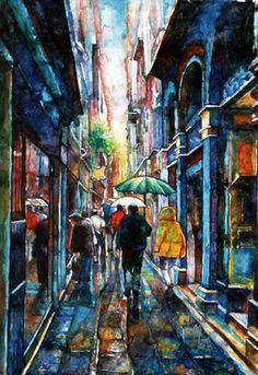 """Rainy Day in Istanbul"" by Asuman DOĞAN (Turkish Street Scene)"