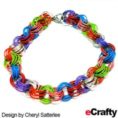 EASY CHAIN MAILLE TUTORIAL eCrafty.com has a great assortment of colorful jump rings.  For this bracelet, Cheryl used all 6 colors plus silver to make an easy rainbow chain maille bracelet.  For instructions., clickable supply list & links, read on! #diy #crafts #beads #chainmaille #jewelrymaking #jewelrysupplies #jumprings #jewelrytutorial #ecrafty #easy #beading