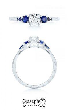 Custom Low Profile Blue Sapphire And Diamond Engagement Ring Elegant Engagement Rings, Diamond Engagement Rings, Wedding Rings, Pear Diamond, Diamond Cuts, Unique Rings, Diamond Shapes, Blue Sapphire, White Gold