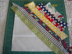 Scrap Buster - strips sewed to a muslin foundation & then trimmed