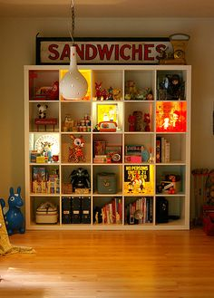 Cute vintage toys, light-up display panels, sandwich sign, what's not to love?