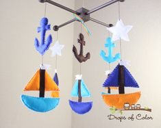 Baby Mobile - Baby Crib Mobile - Boat Mobile - Set Sail Mobile - Anchors and Boats - Marine (You can pick your colors) by dropsofcolorshop