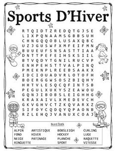 French Vocabulary Activities - Winter Sports by TchrBrowne Winter Word Search, School Organisation, Winter Words, French Worksheets, French Language Lessons, Core French, Catholic Kids, Vocabulary Activities, French Words