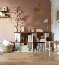 pastel-hued home in kassel. / sfgirlbybay : dusty pink wall in modern living room with yellow mobile. / sfgirlbybaya pastel-hued home in kassel. / sfgirlbybay : dusty pink wall in modern living room with yellow mobile. Living Room Modern, Living Room Interior, Living Room Wall Colours, Living Room Decor Yellow Walls, Living Room Brown, Brown Room Decor, Pastel Living Room, Bedroom Wall Colors, Cozy Living