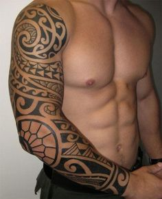 Cool Polynesian Tribal Sleeve Tattoo Designs for Men~ #hawaiiantattoosideas