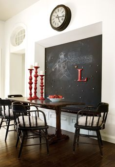 """Cool idea! the black board would be great if you had kids! """"Dining area of a home in the Buckhead neighborhood of (obviously) Atlanta. Betty Burgess Design."""""""