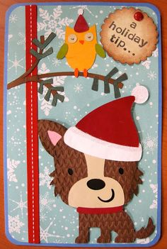 Christmas card using Cricut - Create-a-Critter & Winter Woodlands