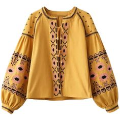 Yellow Folk Embroidered Tie Front Boho Coat ($51) ❤ liked on Polyvore featuring outerwear, coats, brown coat, cotton coat, boho coat, yellow coat and embroidered coat