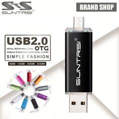 Suntrsi usb 2.0 usb flash drive 32G 64G pen drive 16G Smart Phone Tablet PC OTG external storage usb stick 8G Pendrive Free ship